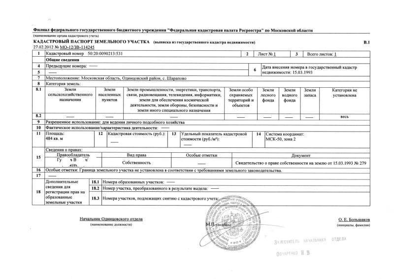 кадастровый паспорт на земельный участок