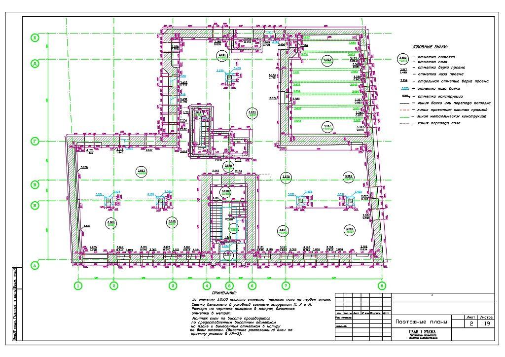 По итогам обмерных работ на поэтажных планах указываются условные обозначения. Они описывают особенности местоположения помещений и конструкций, оборудования и инженерных сетей.
