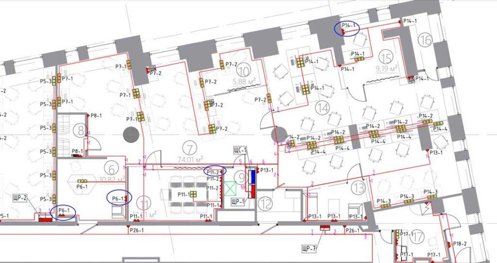 На примере представлена часть общего электропроекта на этаж многоквартирного дома