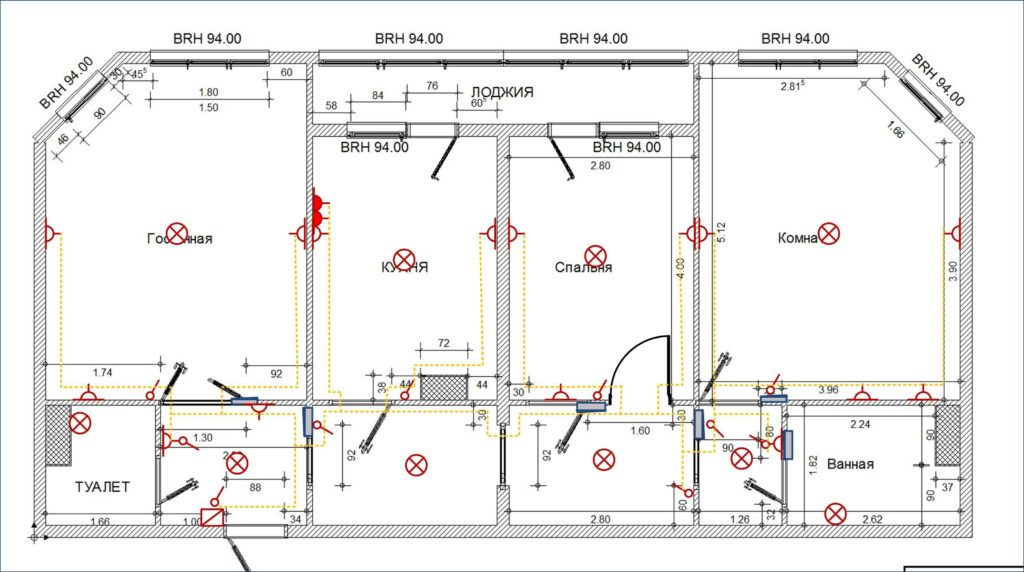 Эти пример схем электропроекта на этаж частного дома