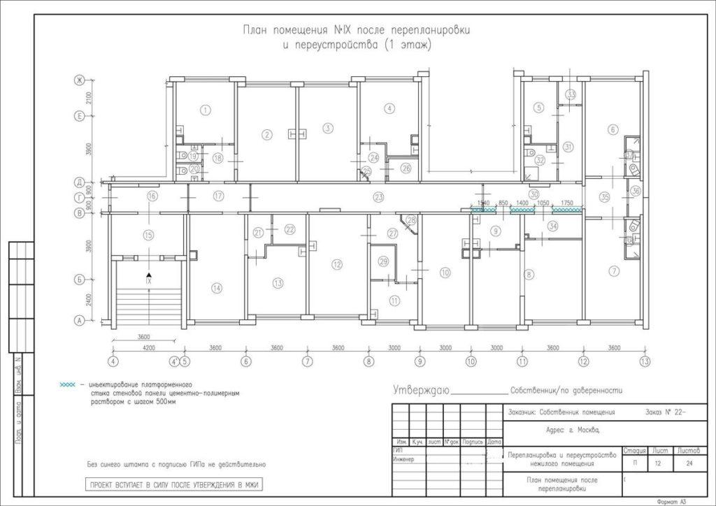 После проектирования документы направляются в МЖИ. в том числе с общим поэтажным планом на изменения конфигурации