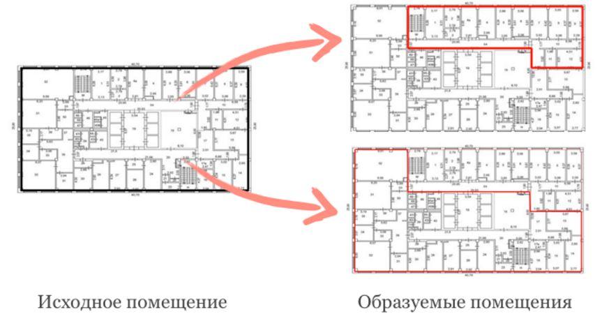 Раздел зданий и помещений