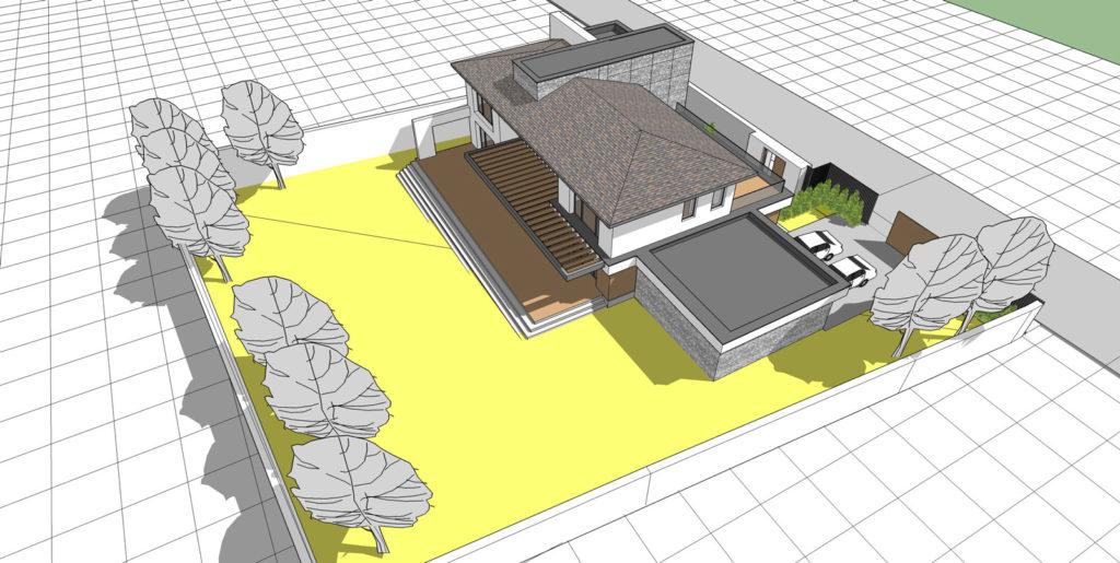 Визуализация эскизного проекта дает представление о компоновке здания, особенностях его расположения на участке