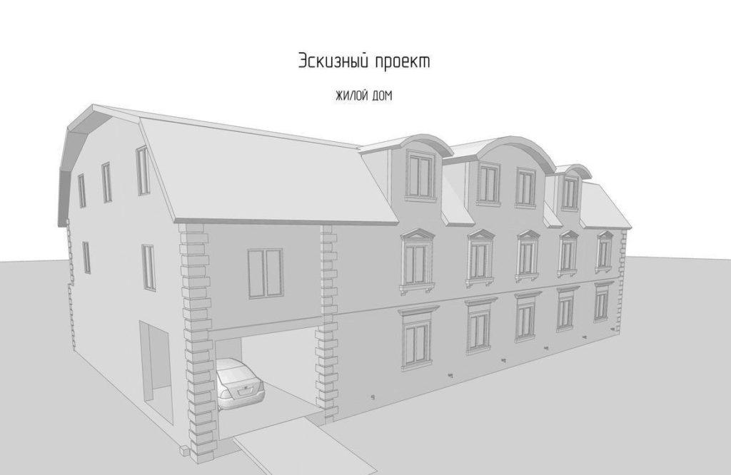 На эскизном проекте будет представлен внешний вид и концепция здания