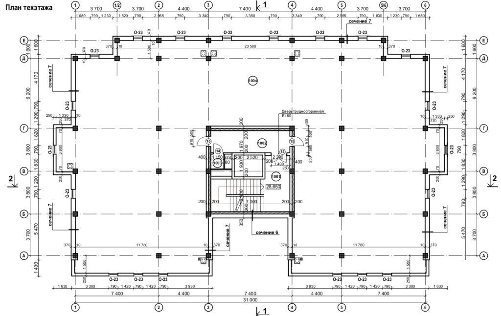 В комплект проектной документации входят чертежи и планы технического этажа после реконструкции