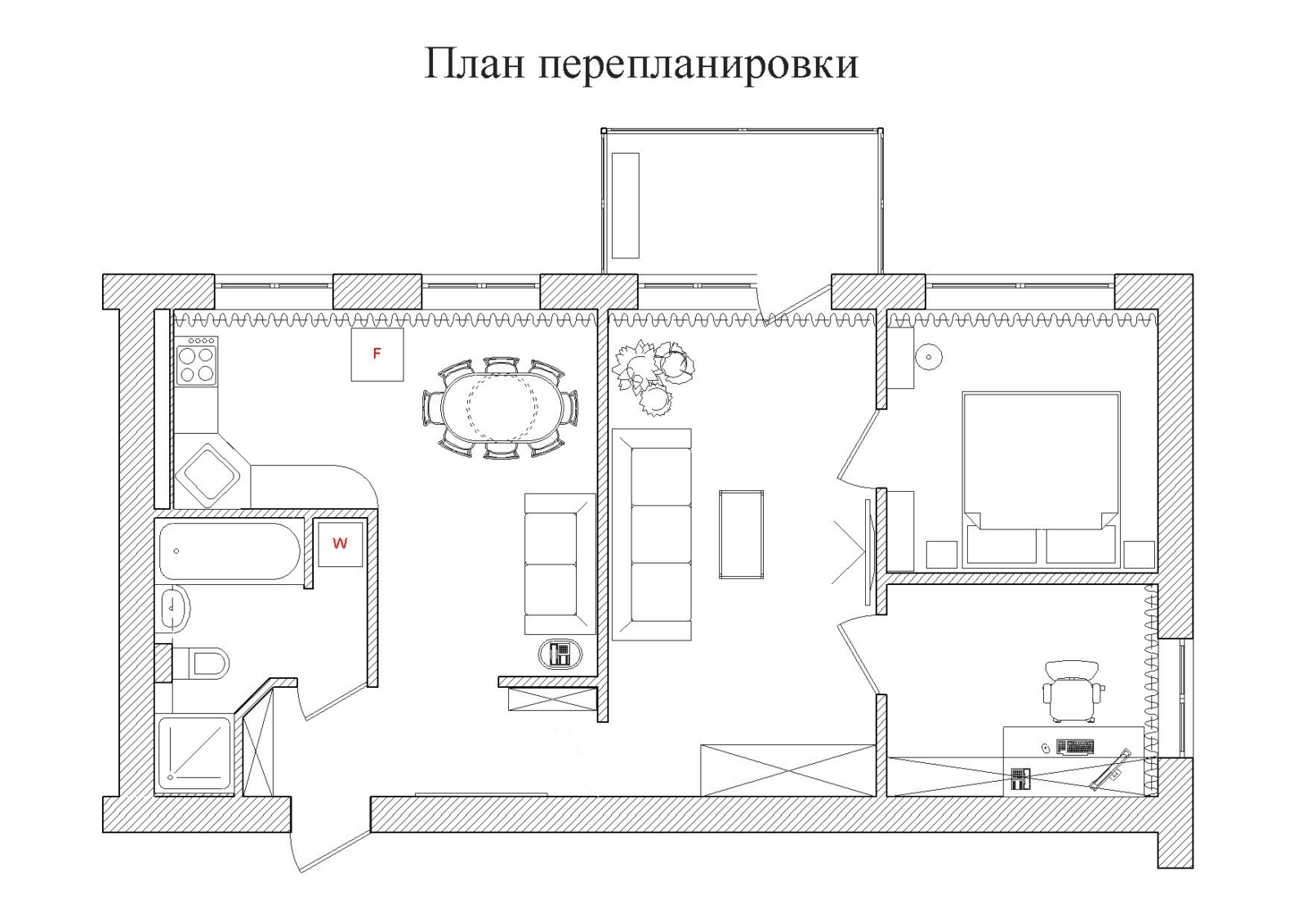 Схема проведения работ указывается в проекте перепланировки, который нужно представить на согласование в МЖИ.