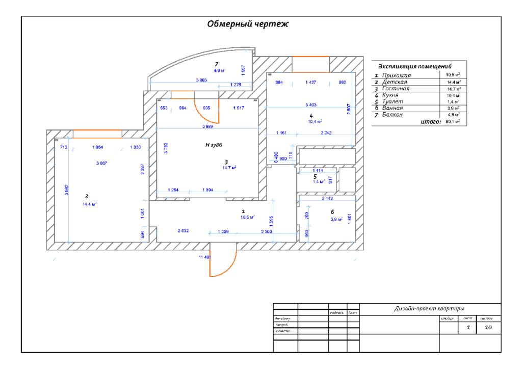 Данный обмерный чертеж сделан для разработки дизайн-проекта. По нему определяются места расстановки мебели и ее габариты, схемы прокладки освещения.