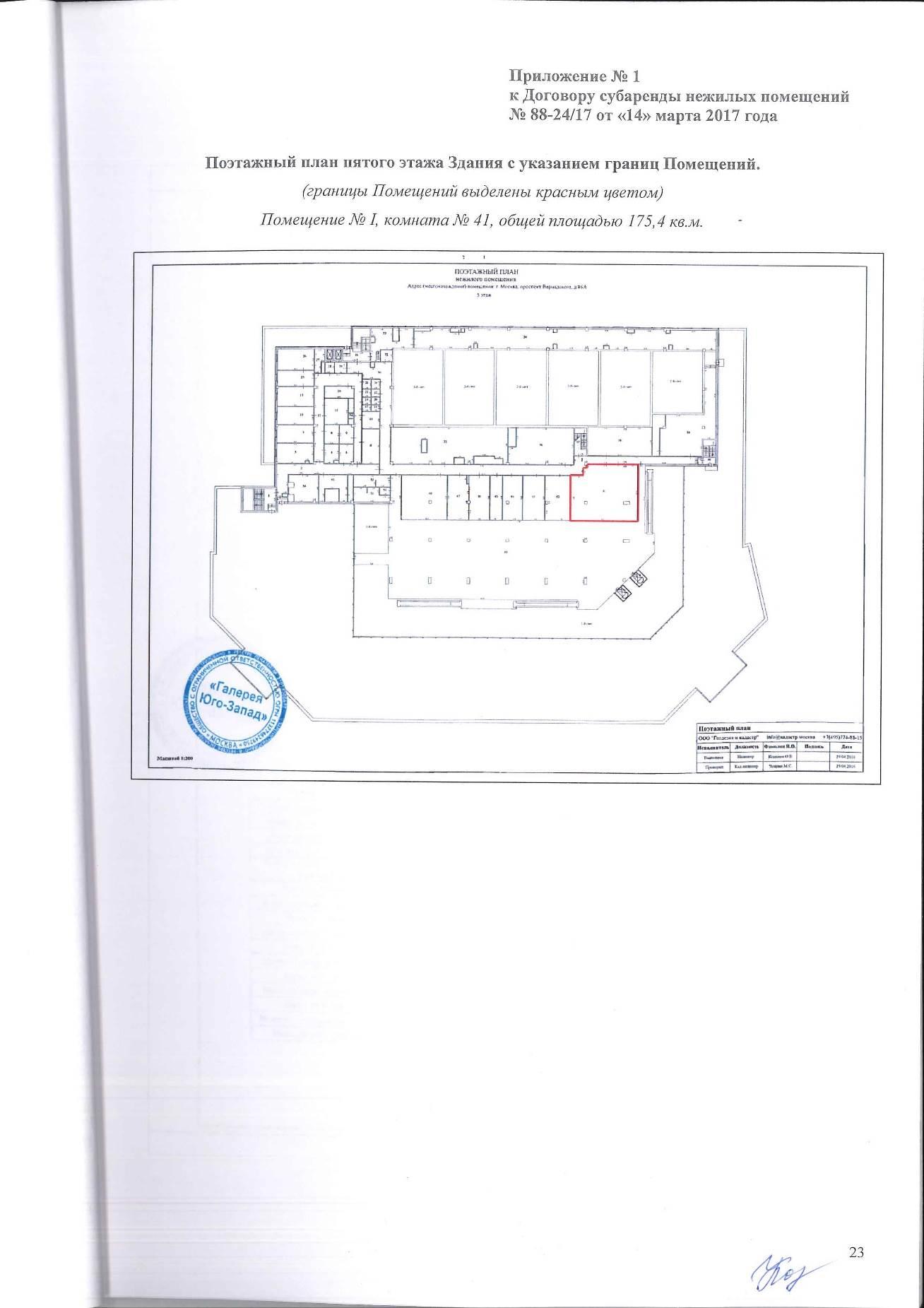 Приложение к договору аренды