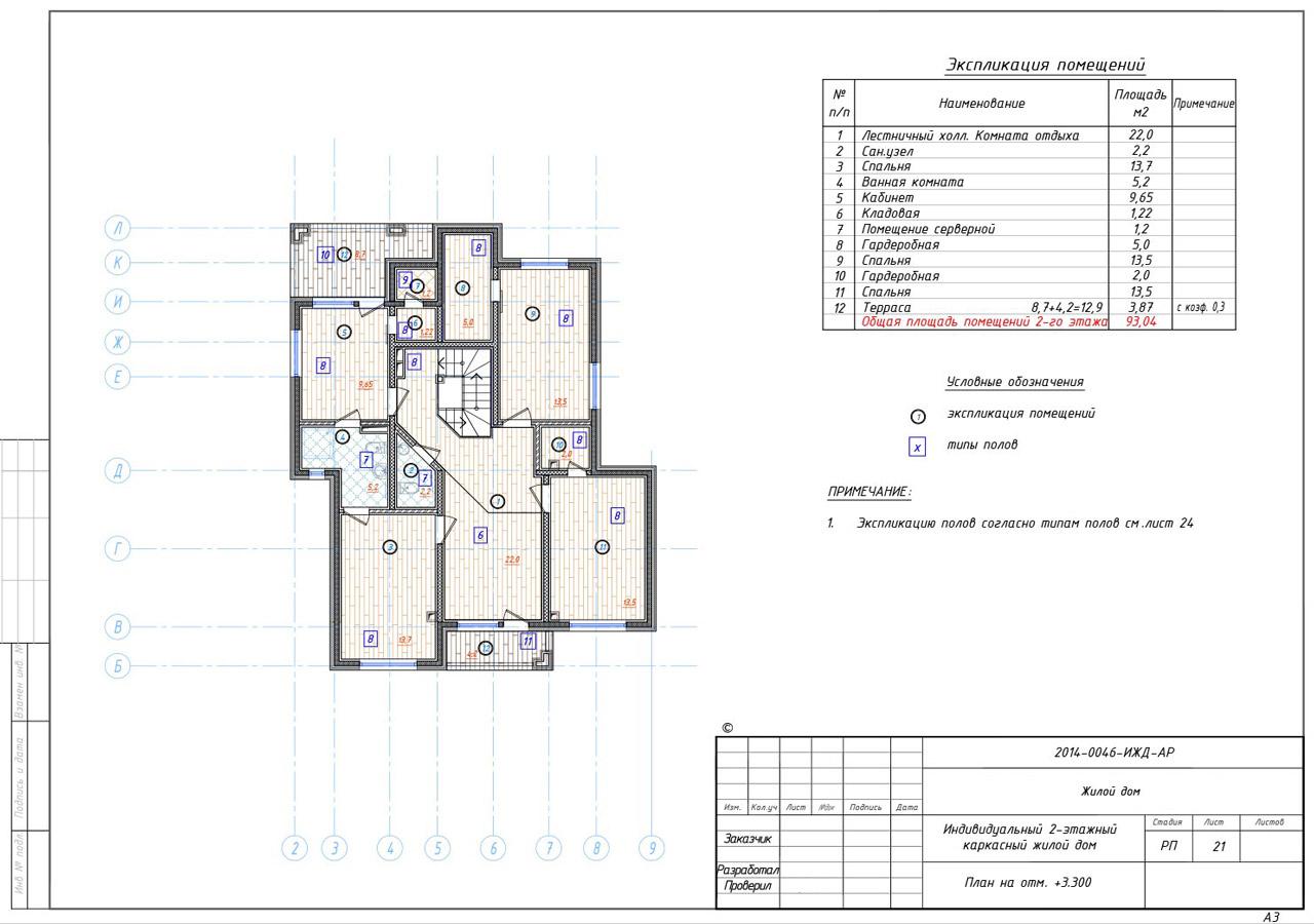 На данном примере поэтажный план с экспликацией на помещения одного этажа в техническом плане.