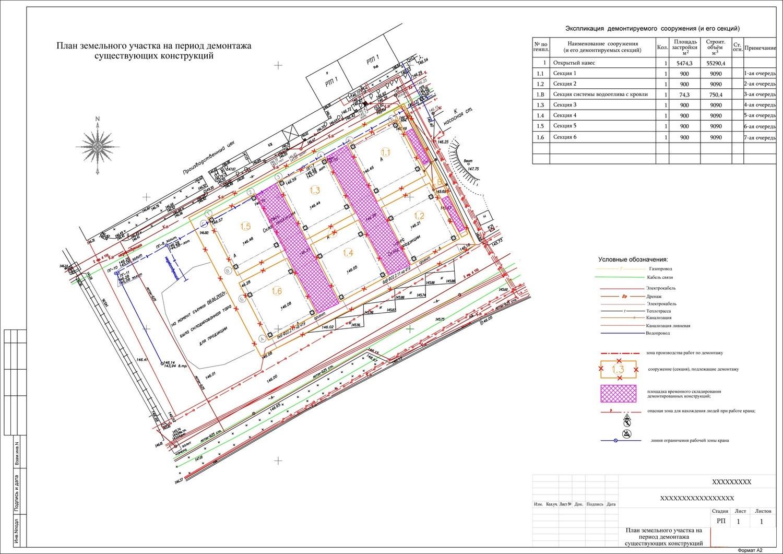При проектировании демонтажа описывается порядок разбора конструкций, план действий подрядной организации.