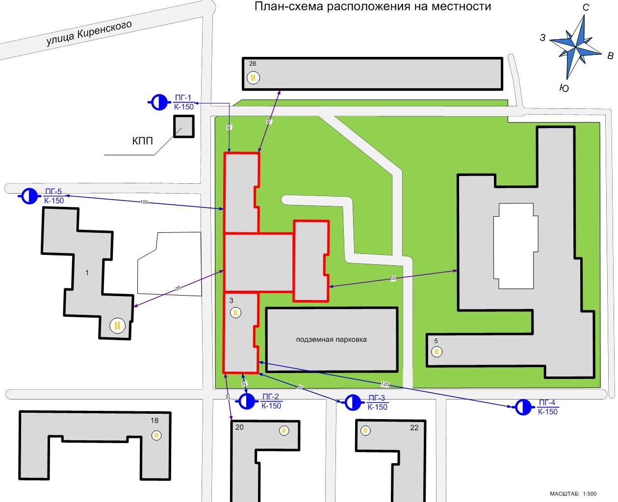 Планы тушения распространяются не только на действия внутри здания, но и должны учитывать особенности прилегающей территории.