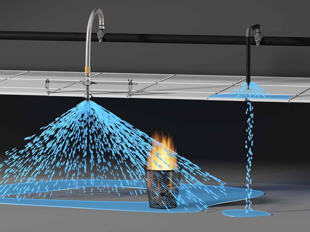 Система пожаротушения должна иметь достаточный радиус действия, чтобы погасить пламя во всем помещении.