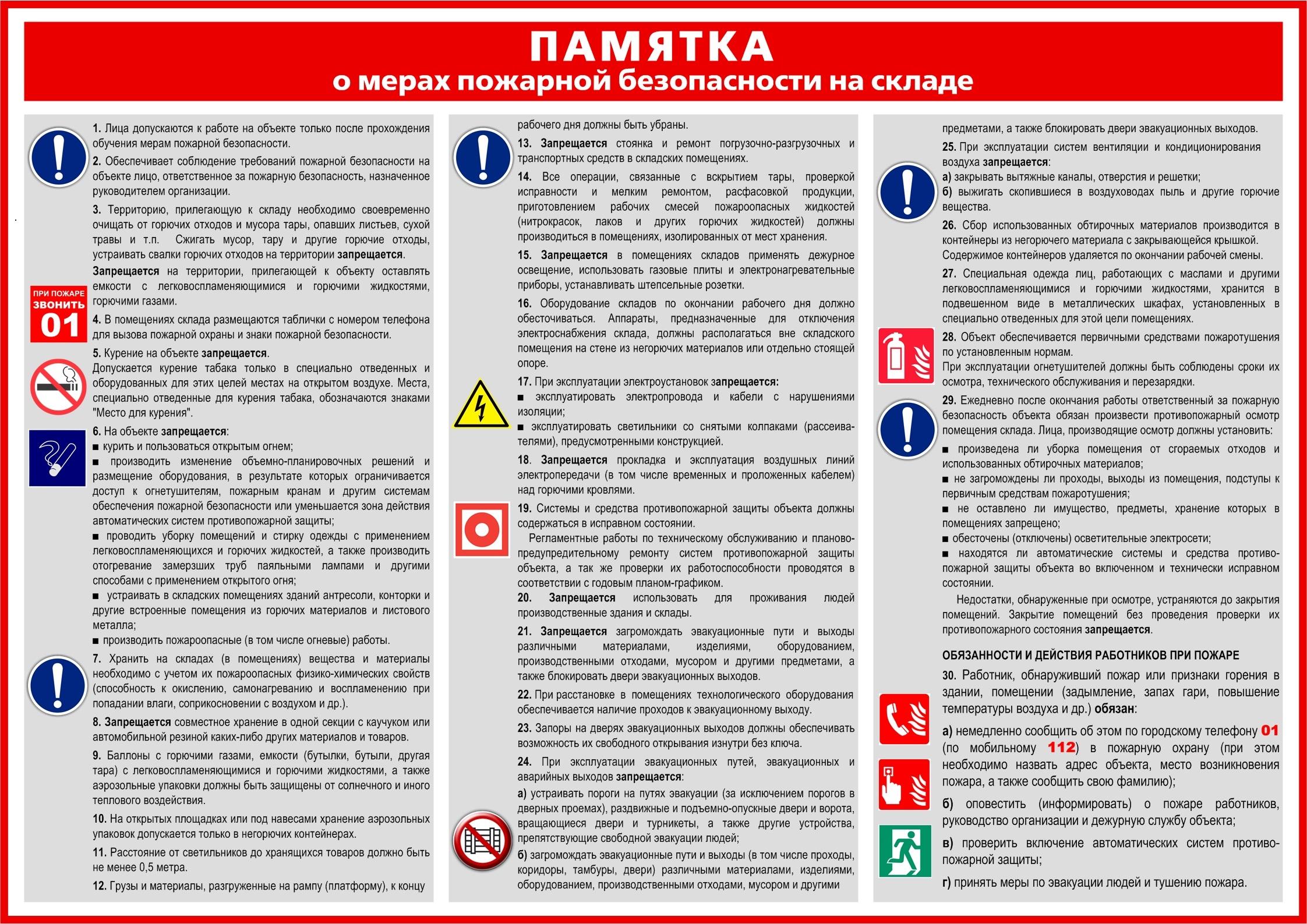 На схеме представлен перечень требования по пожарной безопасности, которые нужно соблюдать при эксплуатации склада.