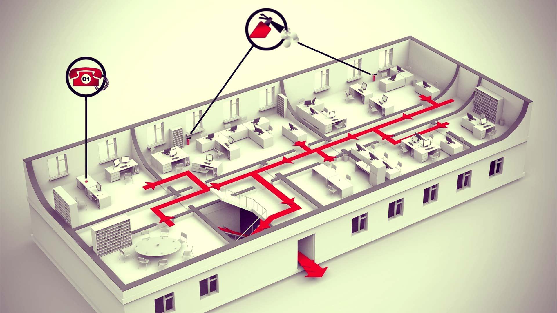 На схеме представлено описание основных мер по пожарной безопасности для офисных помещений бизнес-центра.