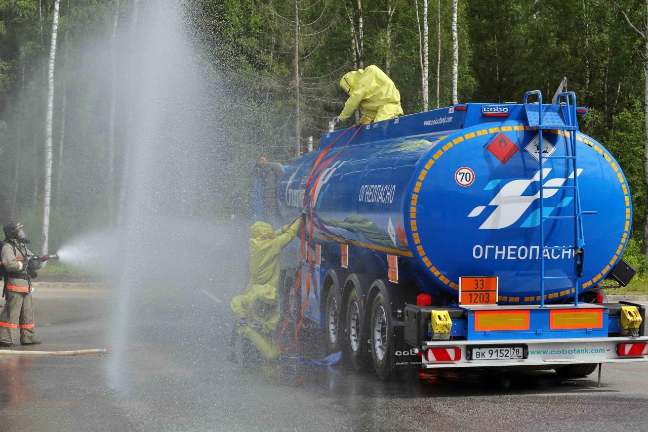 При разгрузке топлива и очистке резервуара нужно обеспечить безопасность работ.