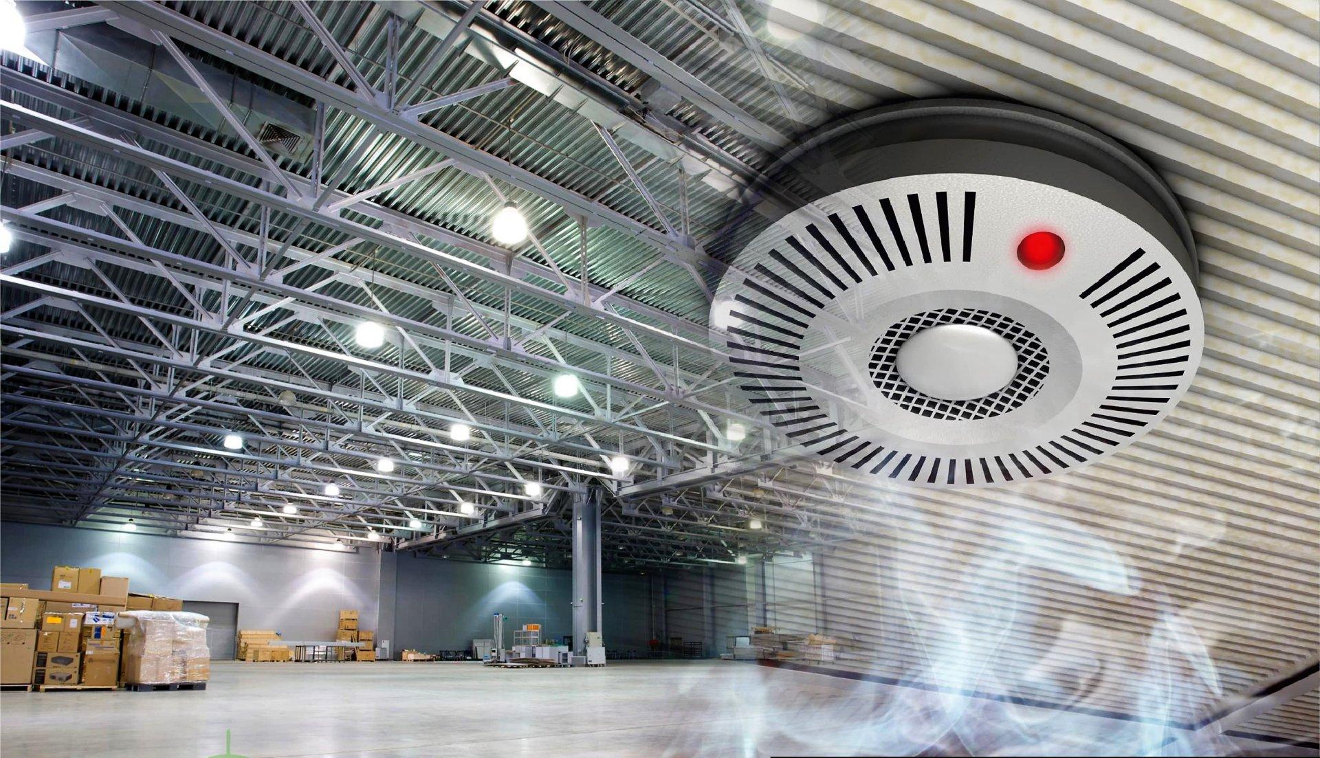 Система сигнализации включает группу датчиков, которые будут срабатывать по показателям температур и дыма, при выявлении открытого огня.