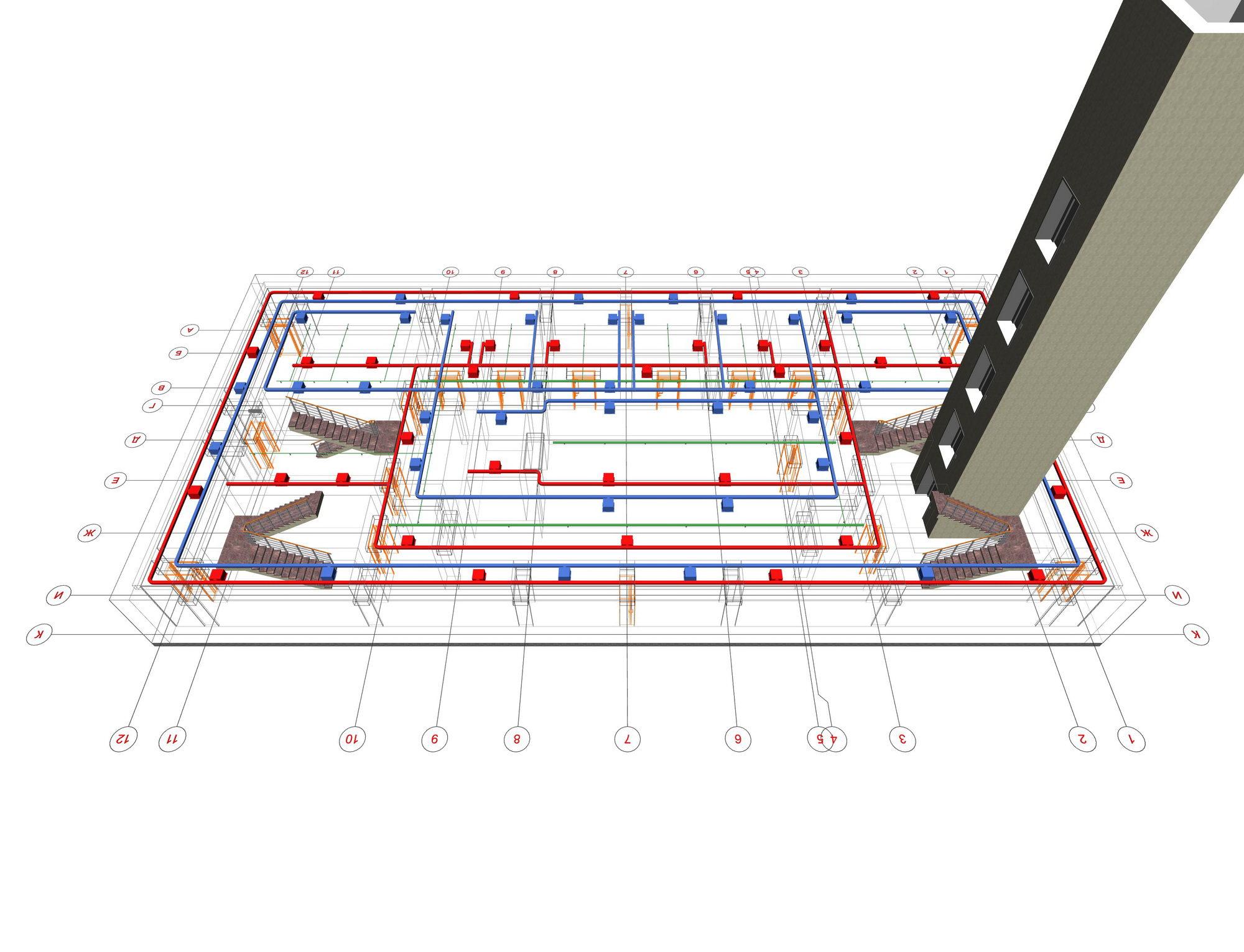 В проекте на спринклерную системы пожаротушения обязательно включаются схемы размешения оборудования, спринклеров, трубопроводов.