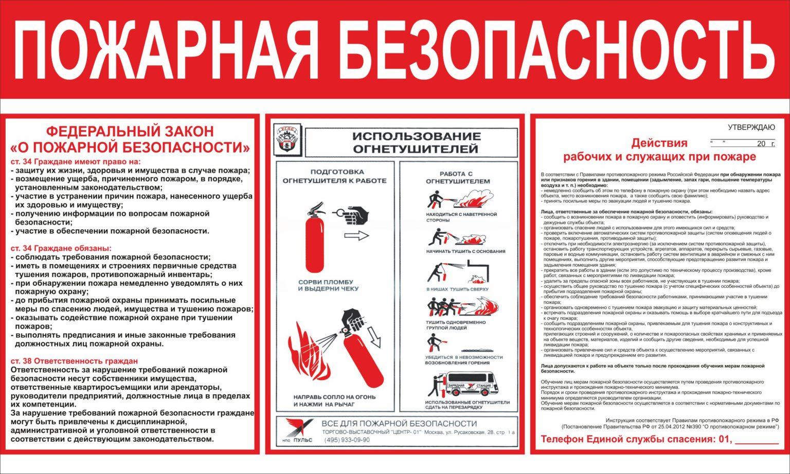 Инструкции по пожарной безопасности описывают правила поведения, алгоритмы действий для персонала, посетителей.